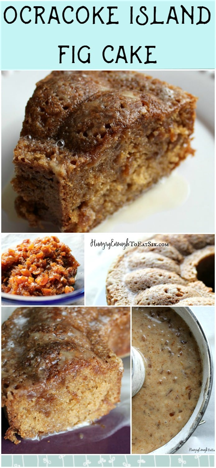 Long image and graphics for the Ocracoke Island Fig Cake recipe.
