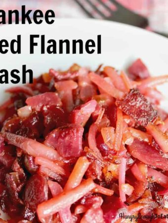Yankee Red Flannel Hash, made with hash brown potatoes, beets, onion and corned beef.