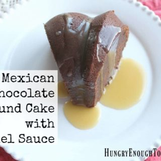 My favorite Mexican dessert flavors inspired this cake: it's rich with coffee, cinnamon, chili powder and a warm caramel sauce!