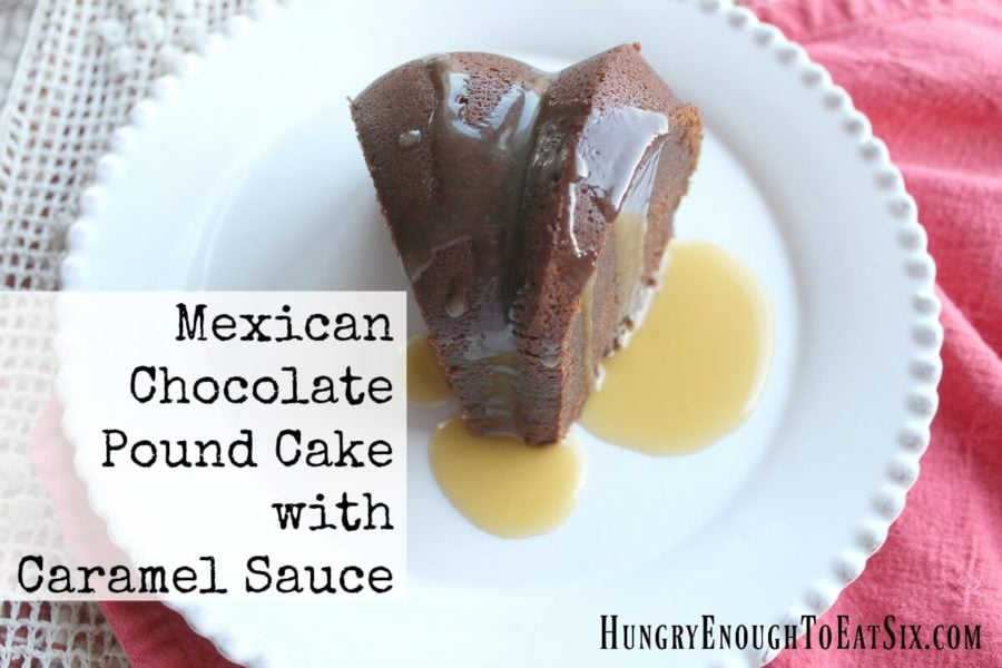 Mexican Chocolate Pound Cake with Caramel Sauce
