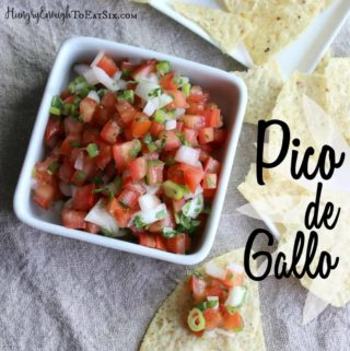 Here is the simplest of salsas: Pico de Gallo. Seven ingredients chopped and tossed together.
