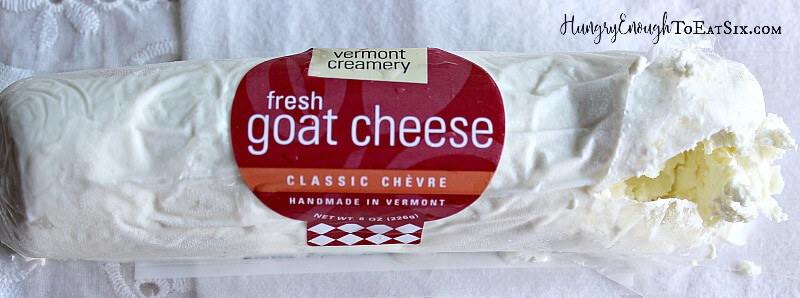 a log of Vermont Creamery fresh goat cheese.