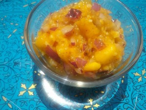 This Sweet & Savory Mango Relish is delicious spread on a sandwich or served with grilled foods like chicken or burgers.