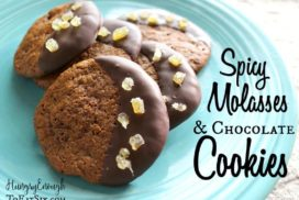 These molasses cookies are thin and chewy, and are wonderful with the chocolate dunk. The pieces of ginger give these spiced cookies an extra bite.