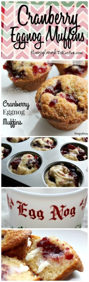 Warm and soft from the oven, tender Cranberry Eggnog Muffins.