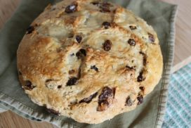 Image of baked and browned loaf of Aunt Lizzys Irish Soda Bread