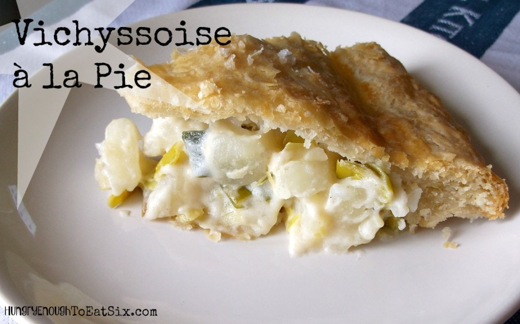 Like the delicious, creamy soup Vichyssoise a la pie is made with leeks and potatoes, cozily combined in a pie shell.