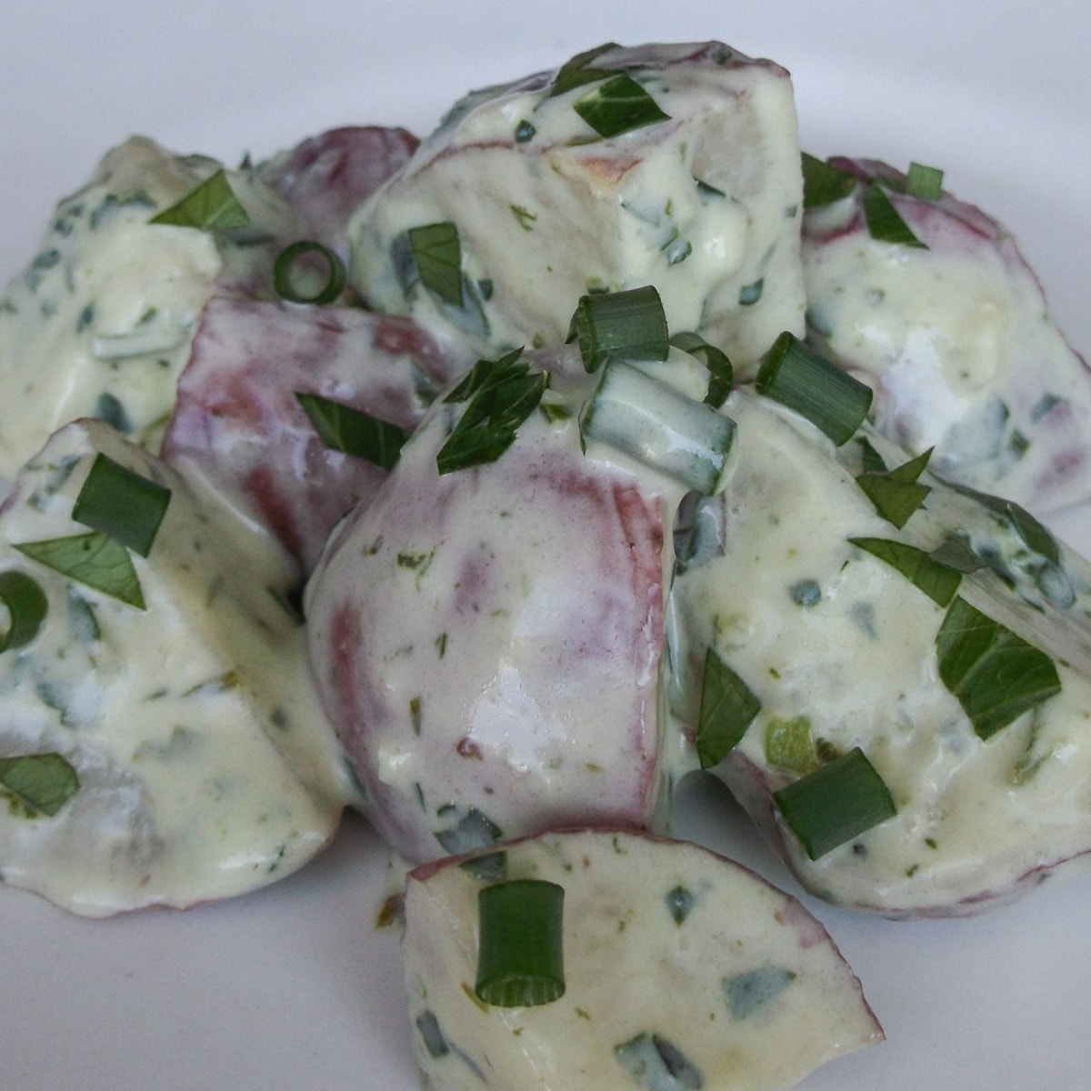 Potato salad with creamy dressing and diced scallions