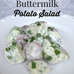 Green Goddess Buttermilk Potato Salad has a buttermilk dressing that is creamy but not too heavy. Roasted red potatoes, parsley, tarragon & a bite from garlic & scallions.