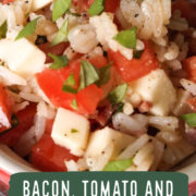 Rice mixed with chopped tomatoes, basil and cheese