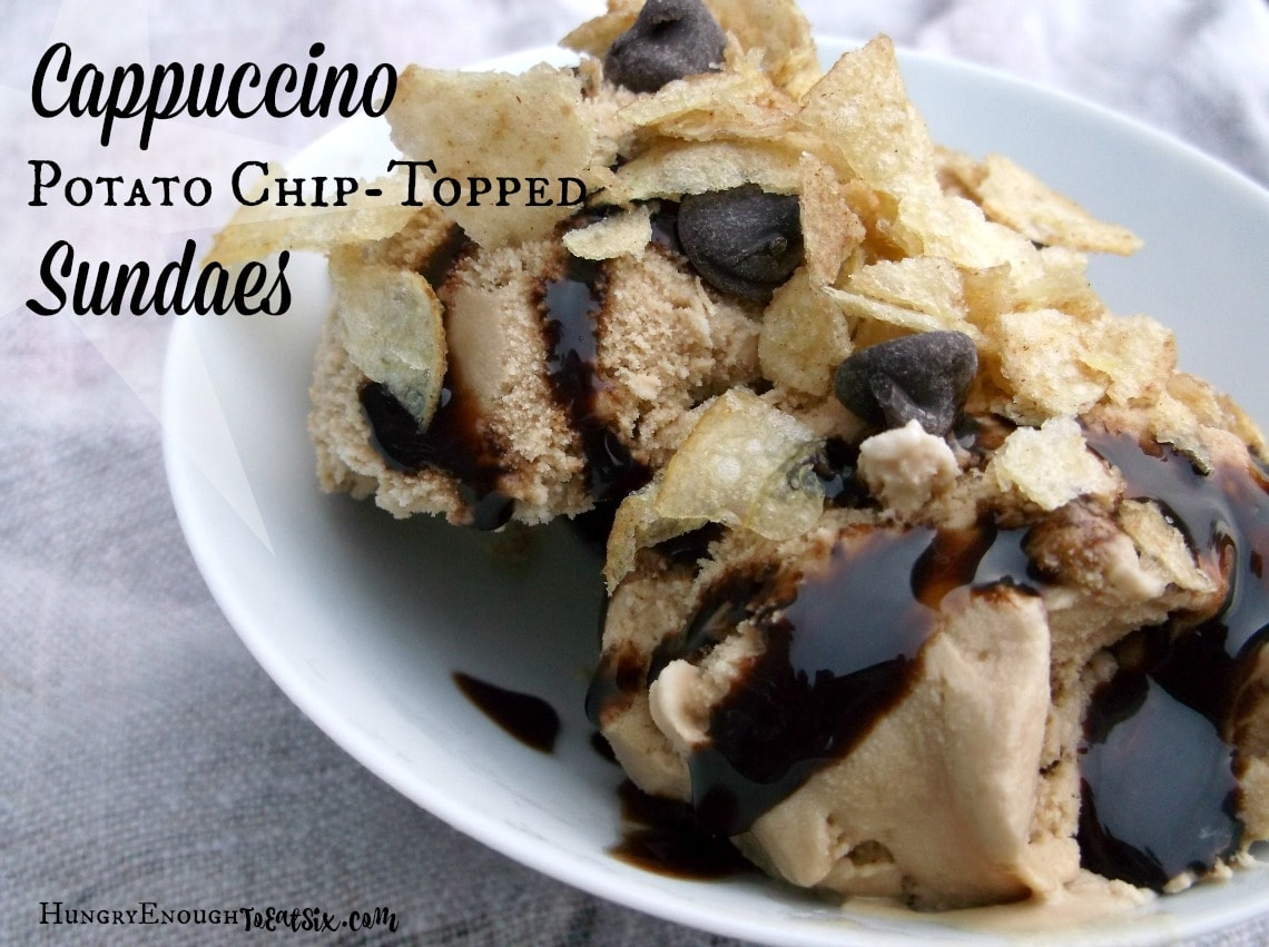 I whipped up two Cappuccino Potato Chip Topped Sundaes using the Cappuccino chips and coffee ice cream: one with chocolate sauce and chocolate chips, and the other with caramel sauce and a sprinkle of sea salt.