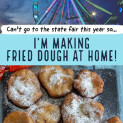 Ferris wheel at top and plate of fried dough below.