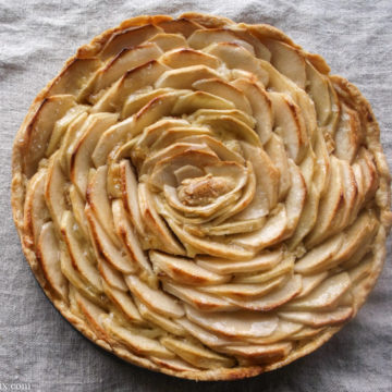 Browned apple tart with apples arranged in spirals