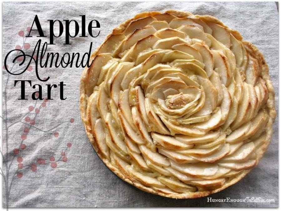 Apple tart with spiral pattern of apples on the top