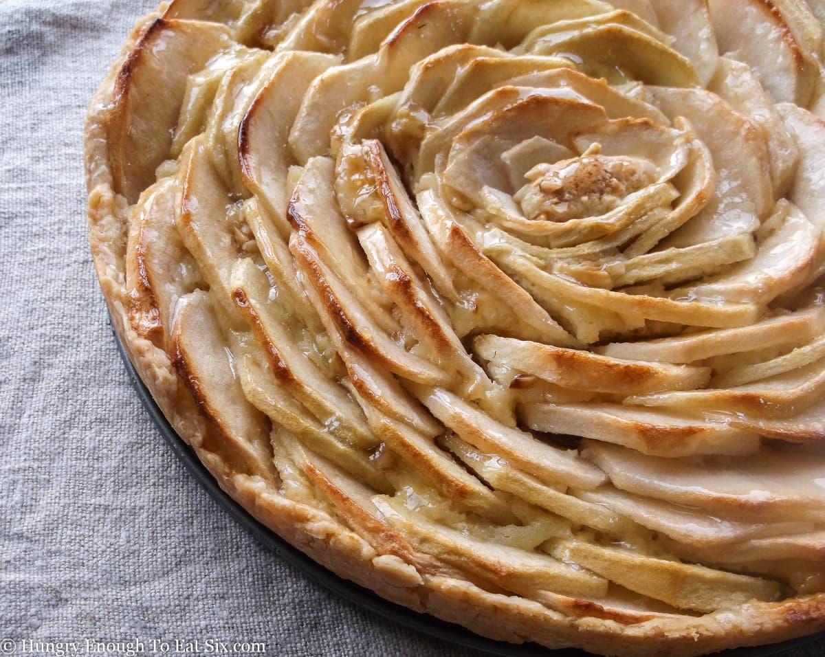Round tart with spiraled slices of apple