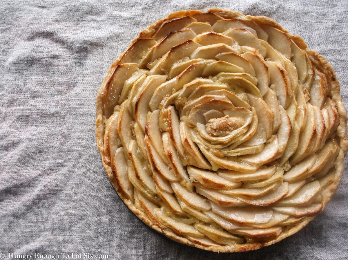 Round tart in a pan with spiral top of apple slices