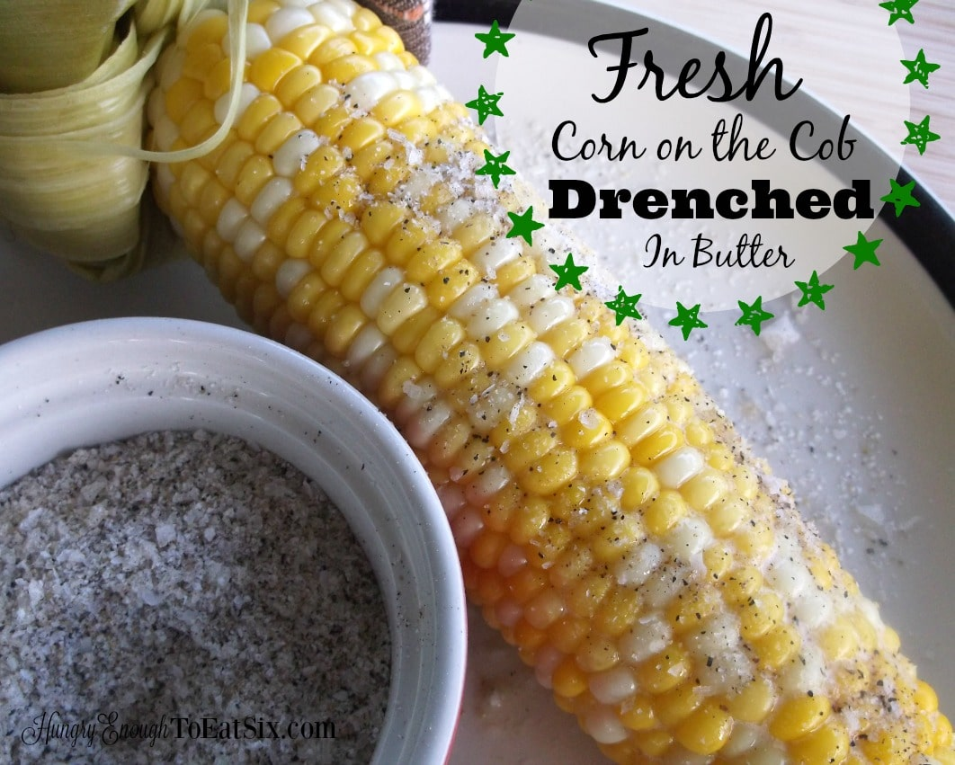 Image of corn on the cob with salt and pepper