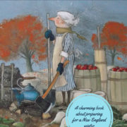 Illustration of an old woman outside on a fall day with apples nearby