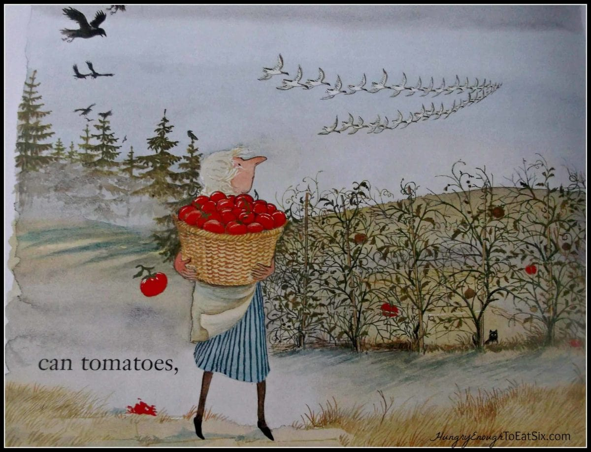 Illustration of a woman holding a basket of apples outside
