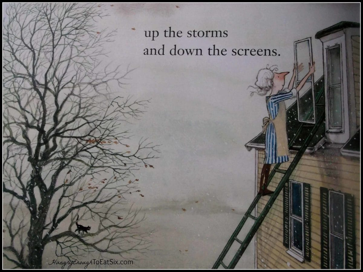 Children's book illustration showing woman on a ladder replacing windows.