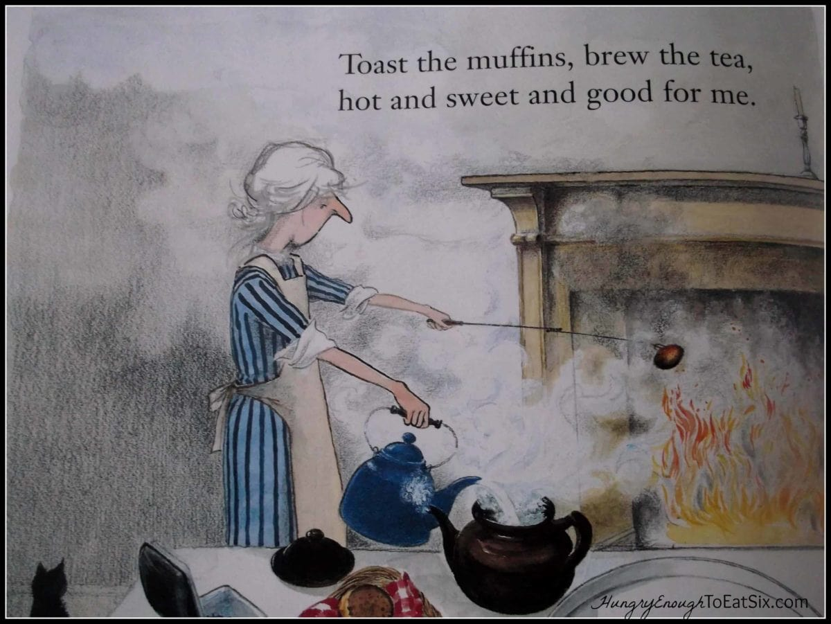 Page from children's picture book showing woman beside a firepalce