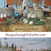 Cover of children's picture book with fall scene, red leafed treats and produce