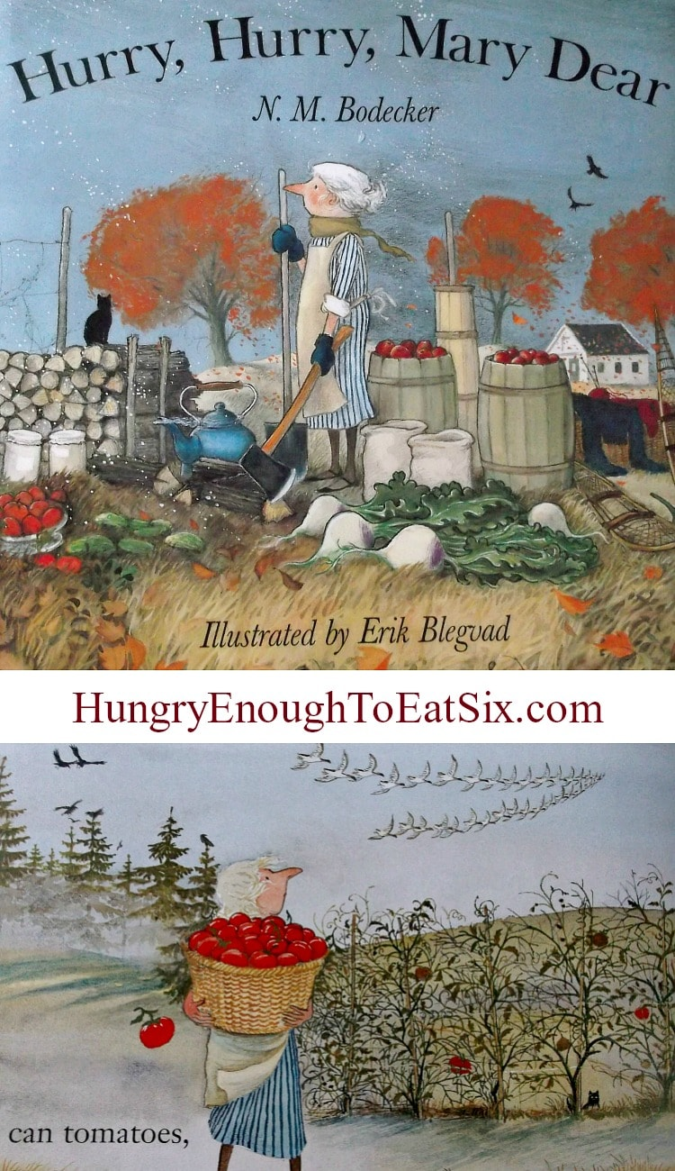 Hurry, Hurry, Mary Dear by N.M. Bodecker: A review of a children's book about autumn turning to winter. Full of beautiful illustrations, the story follows Mary as she puts up the harvest and prepares her home (and husband) for winter.