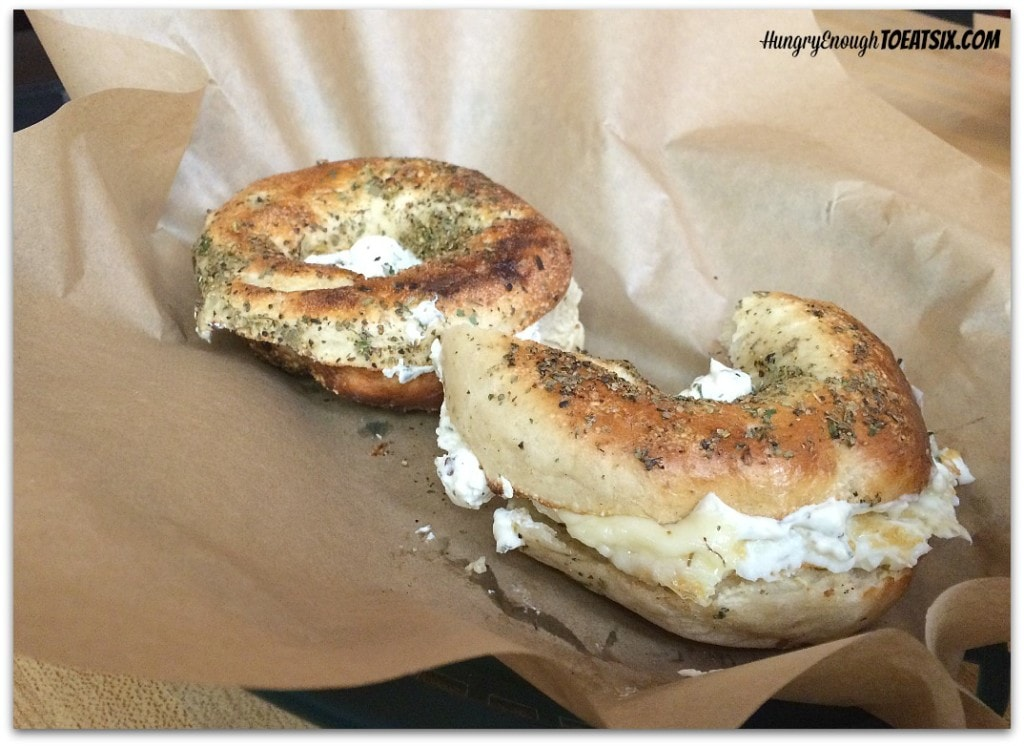 Myer's Bagels: Montreal Spice simply dressed with plain cream cheese.