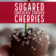 Closeup of a chocolate covered cherry with sugar crystals.