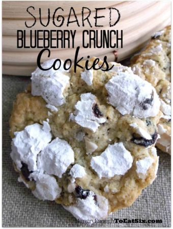 Chewy cookies with a crunch from ground oats, tartness from dried blueberries, and velvety sweetness from the sugar coating.