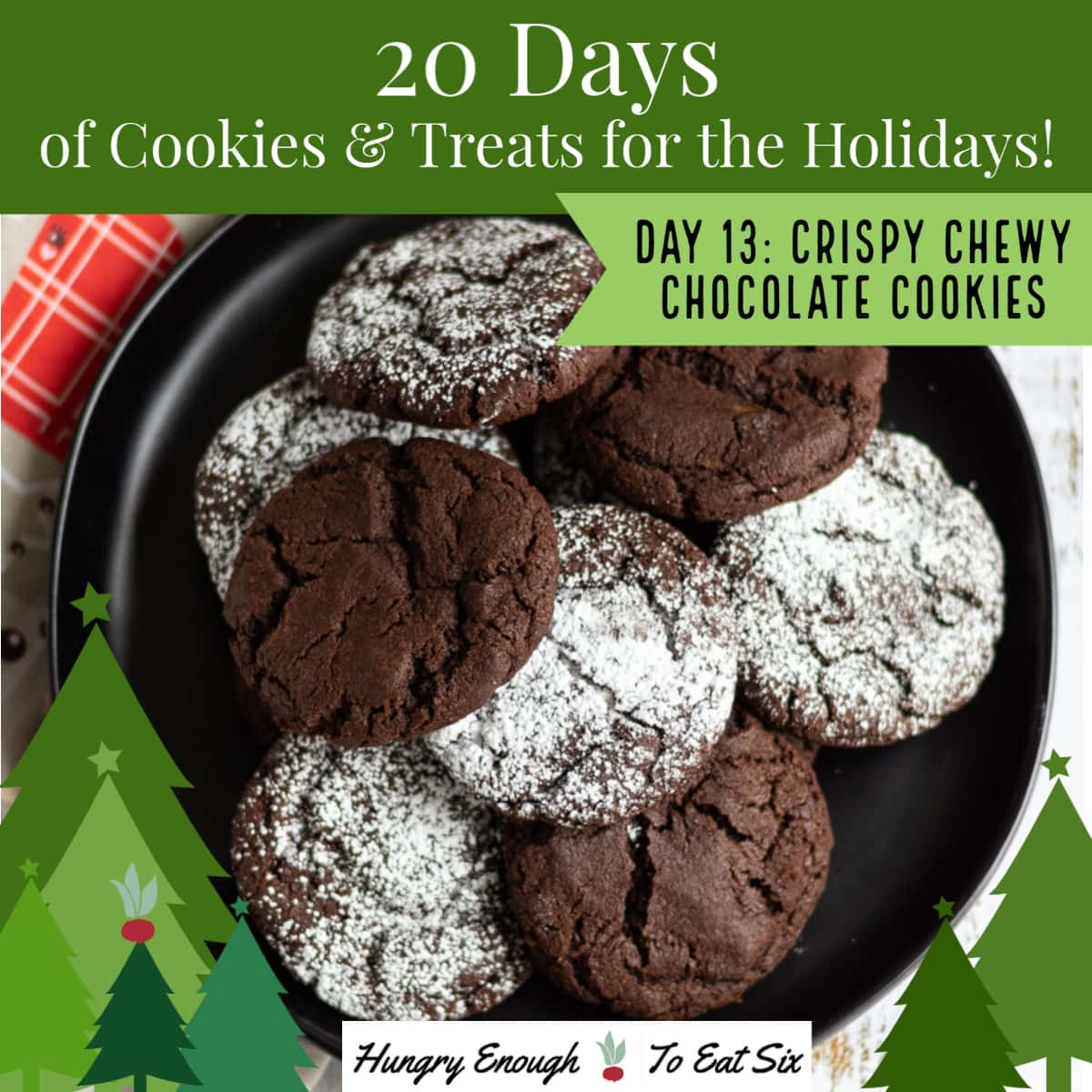 Sugar dusted chocolate cookies on a black plate