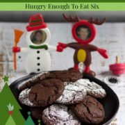 Christmas characters with a plate of chocolate cookies.