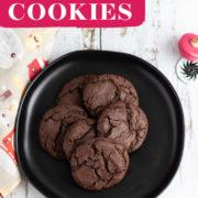 Chocolaty cookies piled onto a dark plate.
