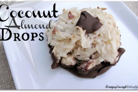 These uber-sweet Coconut Almond Drops are like a macaroon cookie, but also like a candy! What better to stick into and onto this treat than almonds and some chocolate?