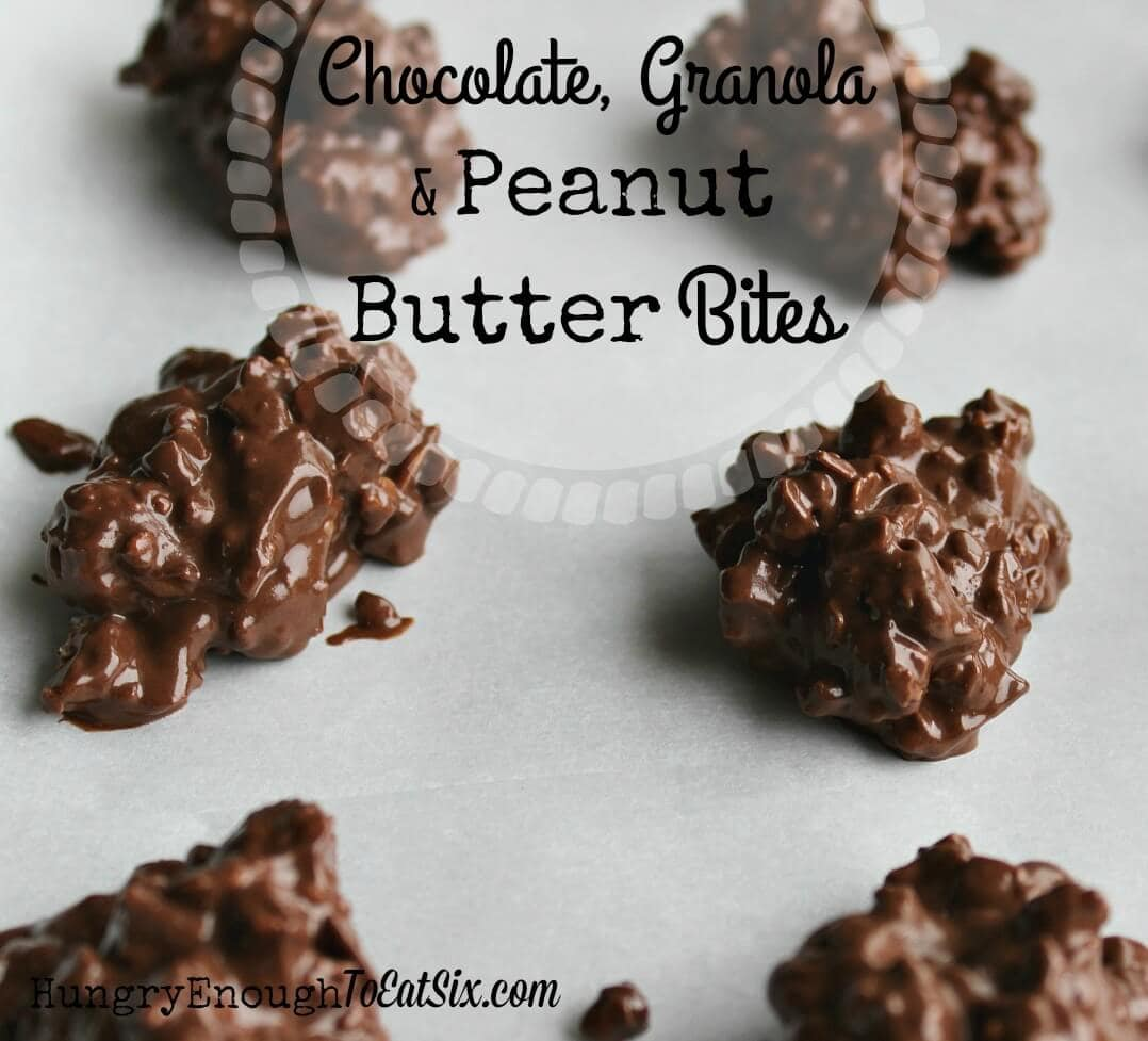 Chocolate, Granola & Peanut Butter Bites. Chewy, chocolatey, candy bites loaded with granola, raisins, almonds and an undercurrent of peanut butter.