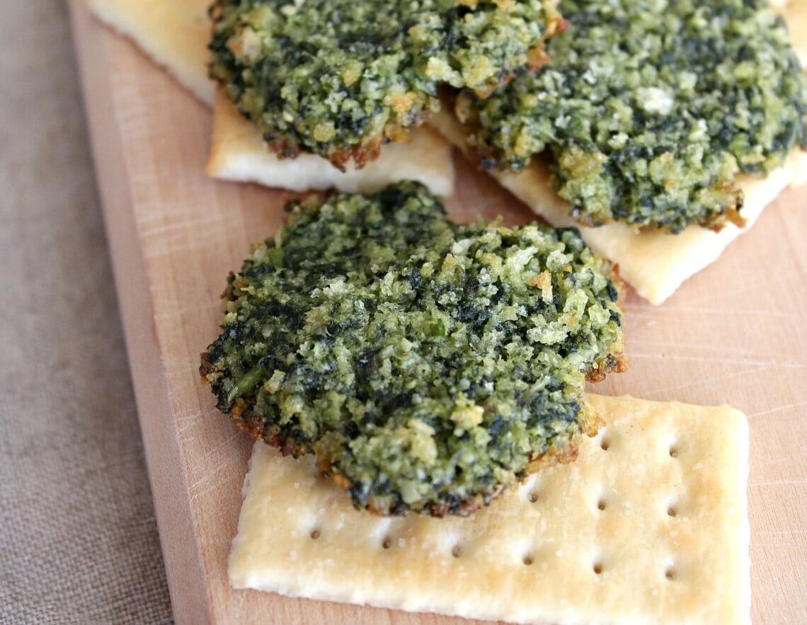 Pesto Crisps have a toasted crunch and a flavor mellowed and melded by baking.