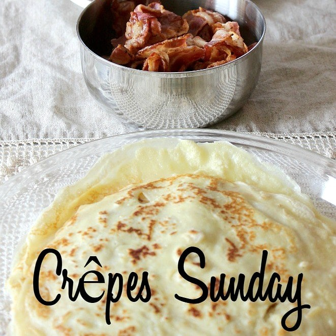 Image of browned crepes in front of a bowl of bacon.