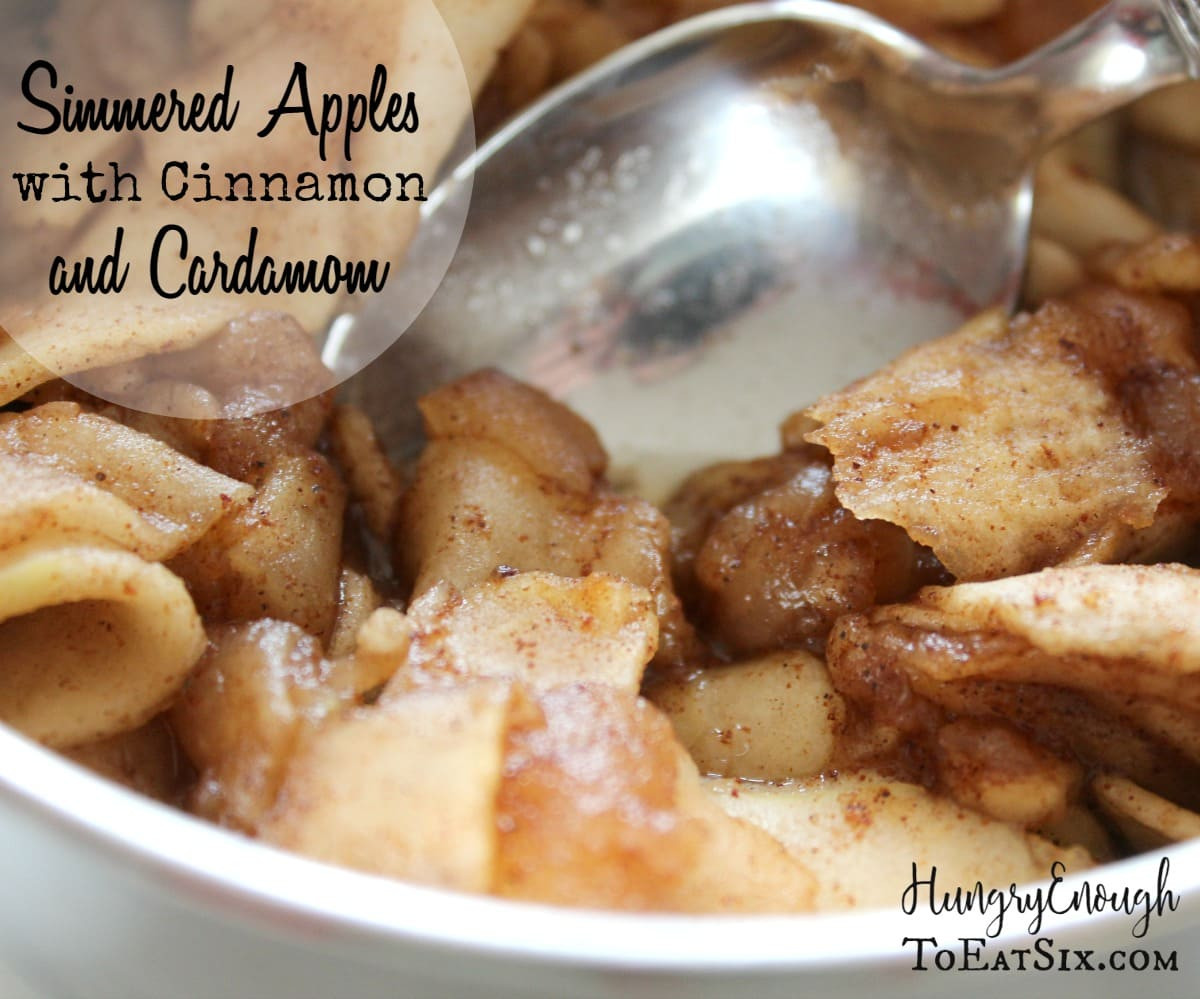 Apples are simmered until tender in a sweet sauce that is spiced with cinnamon and a hint of cardamom. It's a delicious accompaniment at breakfast for pancakes, muffins, yogurt and crêpes.