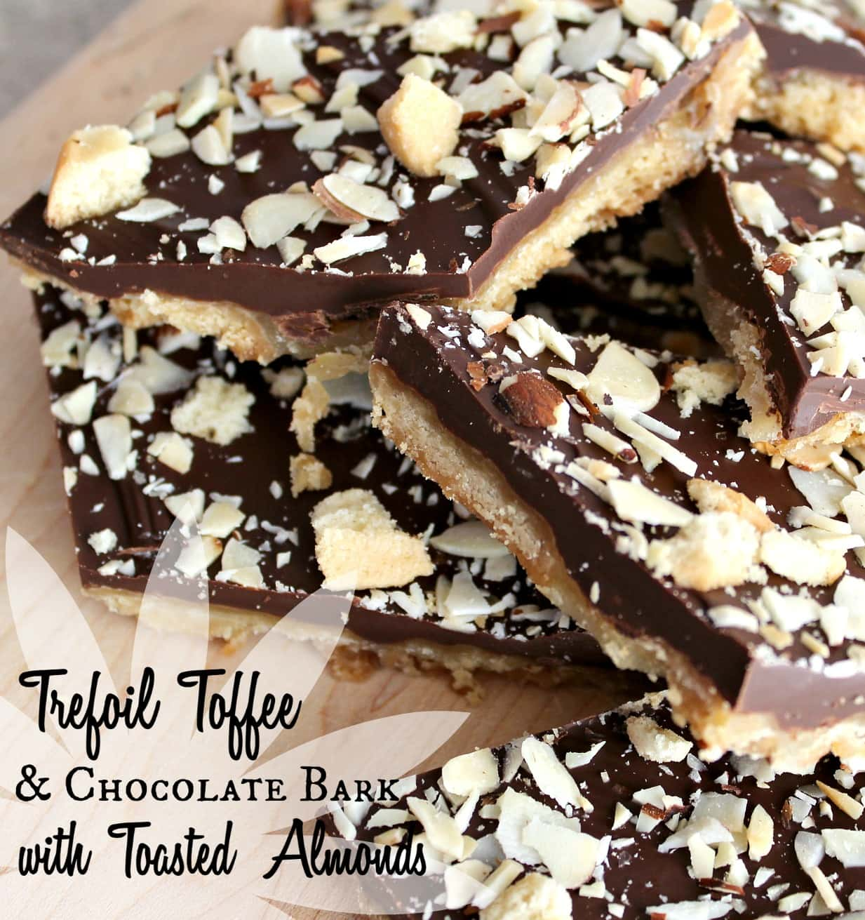 Trefoils Toffee & Chocolate Bark with Toasted Almonds is a chewy, chocolatey candy with Girl Scouts Trefoils cookies. Easy to create & so delicious!