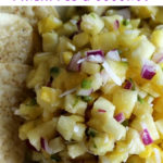 Chunks of pineapple with red onion