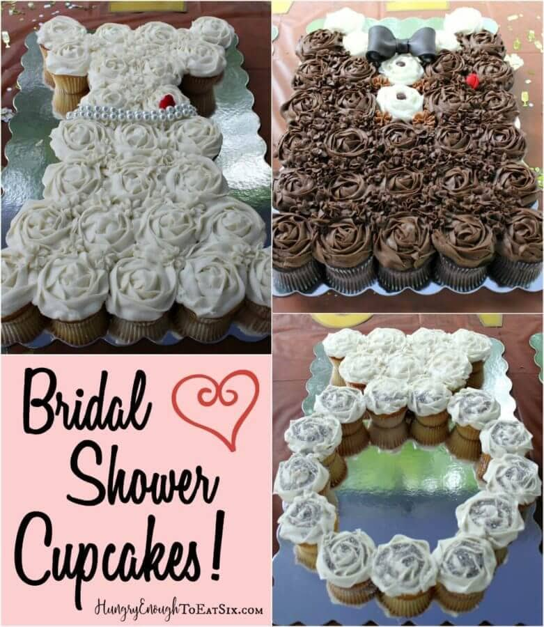 the bridal shower cupcakes are arranged in three designs a wedding dress an engagement