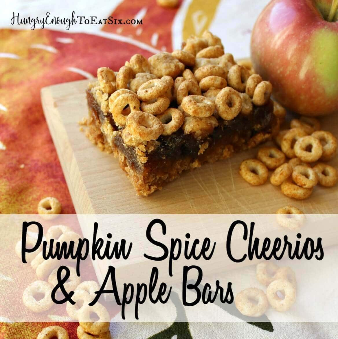 This recipe using Pumpkin Spice Cheerios has a flavorful, crunchy base and topping over a thick, cooked apple spread.