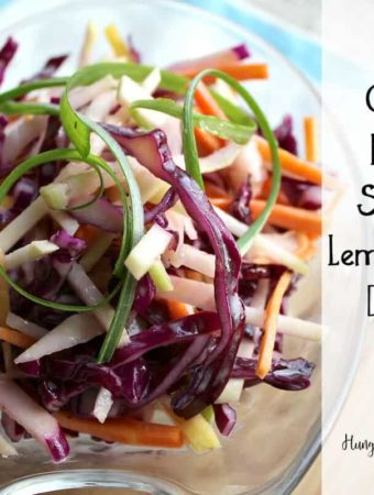 This fresh, winter salad is crisp with kohlrabi, cabbage and carrot and tossed with a tangy dressing.