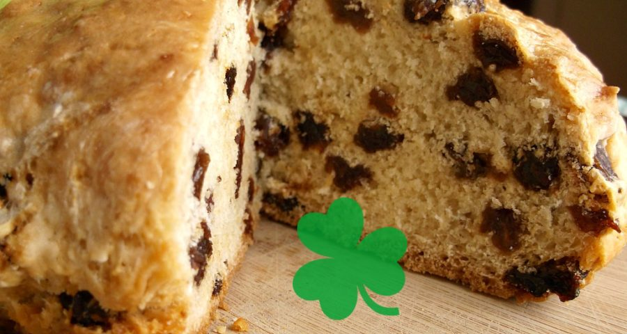 Image of Aunt Lizzy's Irish Soda Bread loaf sliced in half.