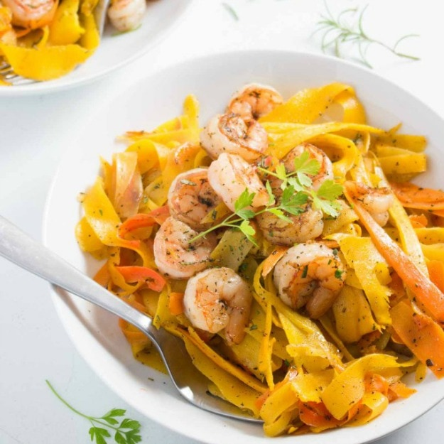 http://www.pinchmeimeating.com/scarborough-fair-carrot-ribbons-shrimp/