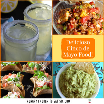Collage of margaritas, dips and main dishes for Cinco de Mayo.