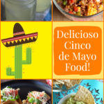 Collage for Cinco de Mayo of dip, taco salad and drinks.