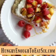 Collage of a slice of peaches and cream shortcake and a pile of diced peaches.