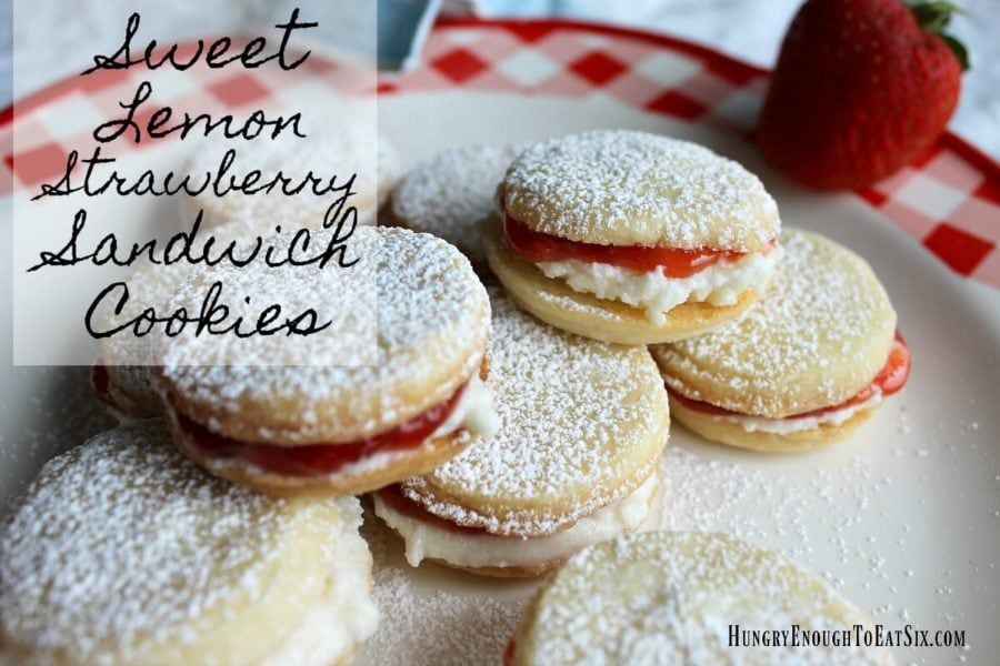 Sweet Lemon Strawberry Sandwich Cookies