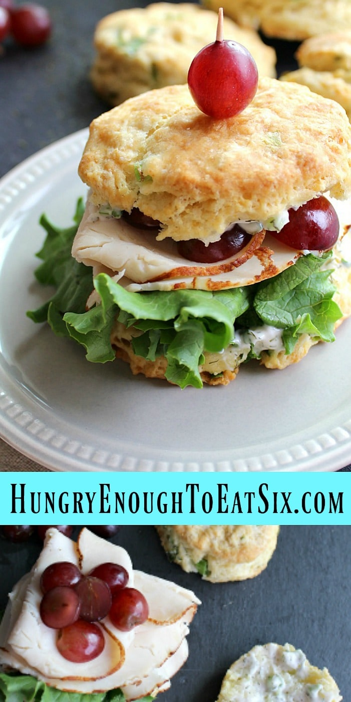 Deli Chicken Biscuit Sandwiches with Dill + Red Grapes! These savory sandwiches feature McKenzie Natural Artisan Chicken Breast with fresh red grapes and a dilly dressing.
